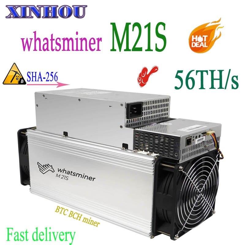 Новый Майнер Asic WhatsMiner M21S 56T с БП BTC BCH Биткоин Майнер лучше, чем M20S M3 M3X antminer S9K S9j S9 S11 S17 S15 T17 T3