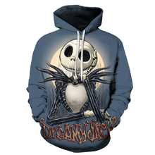 3D Print Halloween Harajuku the Night Before Christmas Jack Skellington Sweatshirts Long sleeve Fashion Hoodies Tracksuit