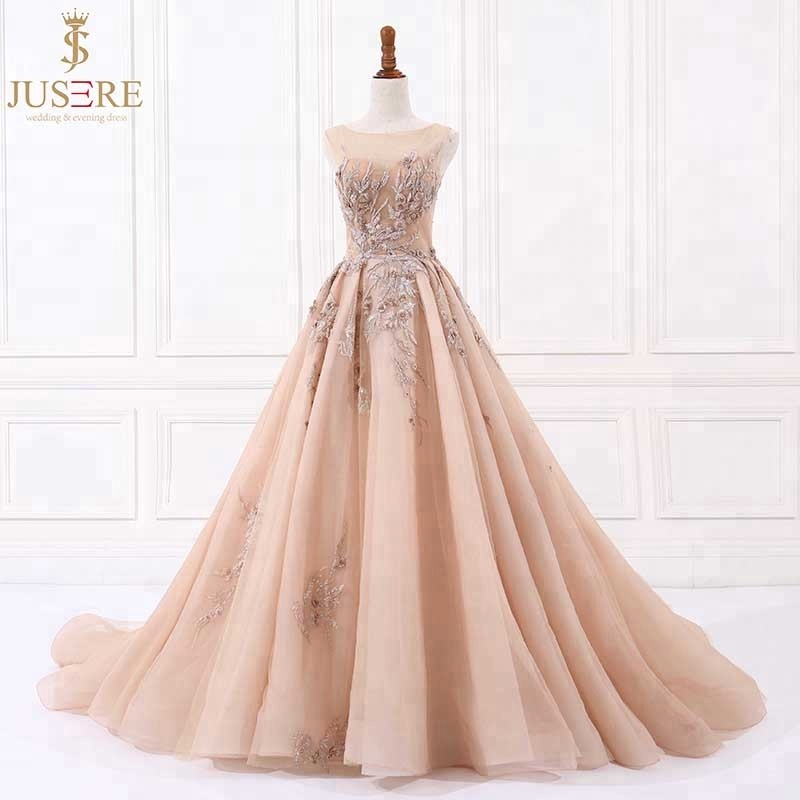 Luxury  Jusere Champagne A Line Appliqued Beaded evening dress sleeveless Prom Dresses Evening Party GownProm Dresses   -
