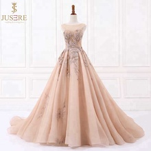 Luxury  Jusere Champagne A Line Appliqued Beaded evening dress sleeveless Prom Dresses Evening Party Gown