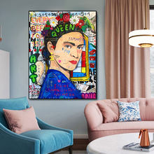 Graffiti Art Beautiful Woman Reproductions Oil Painting Canvas Print Poster Wall Picture For Living Room Home Decor Frameless