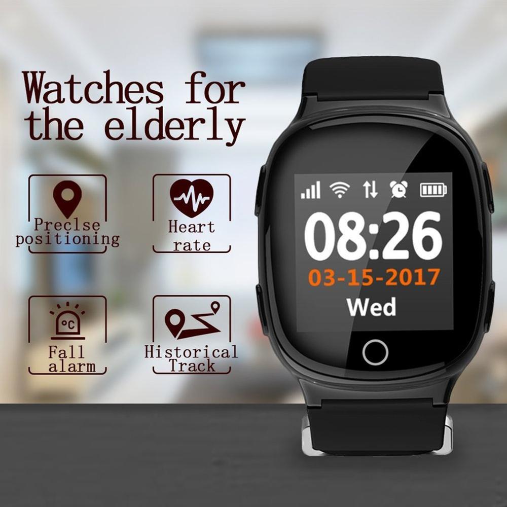 D100 personnes âgées montre intelligente moniteur cardiaque avec fonction d'alarme Anti-perte GPS + LBS + Wifi suivi pour IOS Android montres