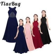Le ragazze di fiore per bambini vestono abiti da ragazza in pizzo floreale senza maniche per abiti da festa Infantil elegante abito da comunione Maxi principessa