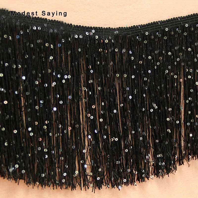 5 Yards Black 20cm Sequins Fringe Trim Ribbon Sewing Lace Tassel Fringe Trimming Latin Dress Evening Gowns Garment Accessories