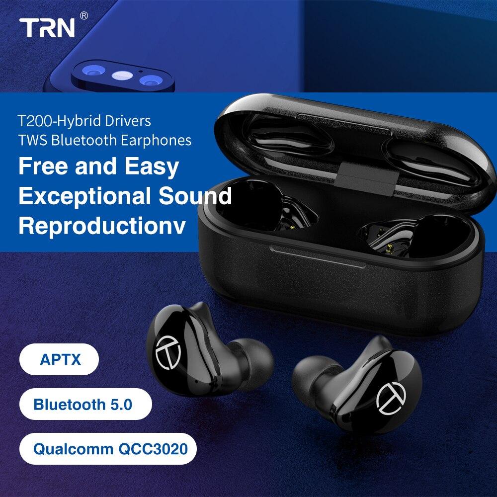 TRN T200 Bluetooth 5.0 Aptx écouteurs sans fil réduction du bruit écouteurs pilotes hybrides vrais écouteurs sans fil QCC3020 TWS casque