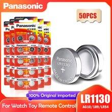 50 шт. Panasonic LR1130 LR 1130 1,5 V кнопочная батарейка монета 189 AG10 V10GA L1131 SR1130W SR1130 389 LR54 SR54 Щелочная батарейка для часов