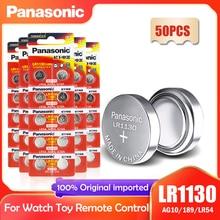 50PCS Panasonic LR1130 LR 1130 1.5V Botão de Célula tipo Moeda 189 AG10 V10GA L1131 SR1130W SR1130 389 LR54 SR54 Relógio Bateria Alcalina