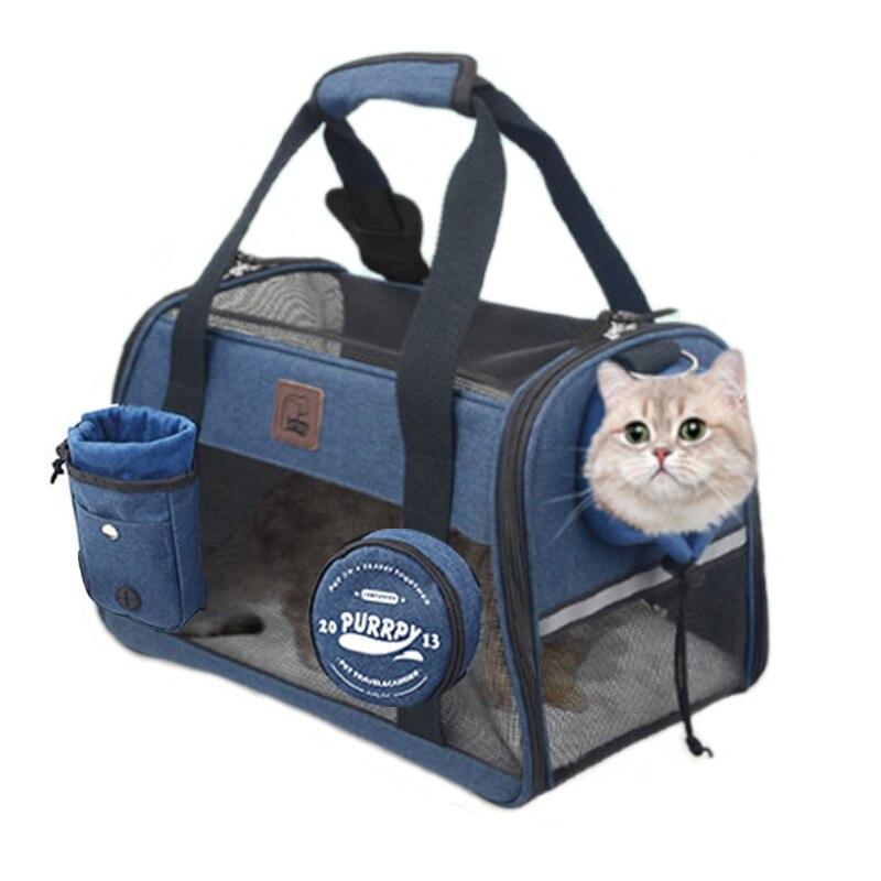 Carregador de viagem para gato portátil, dobrável, bolsa de transporte para cachorros e gatos, com embalagem para treinamento e tigela
