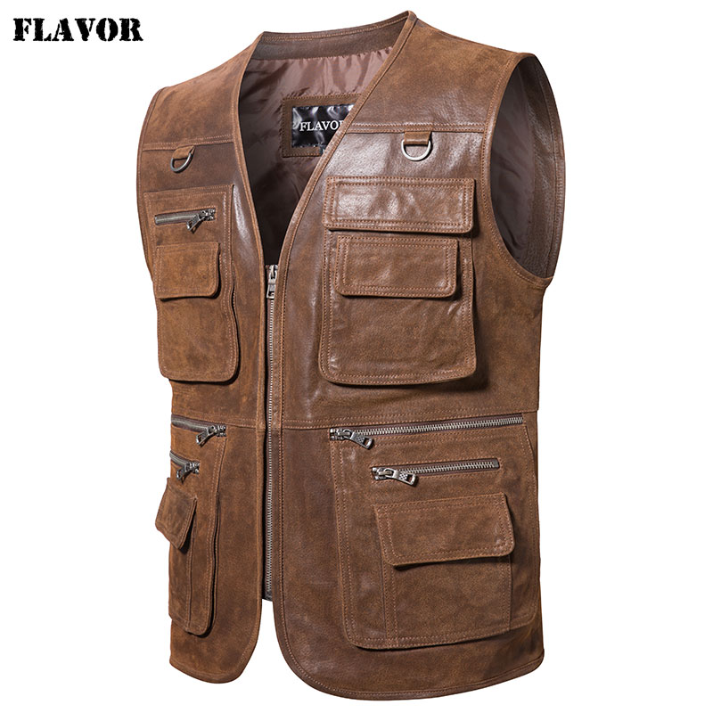 FLAVOR New Men's Real Leather Vest Men's Motorcycle Fishing Outdoor Travel Vests