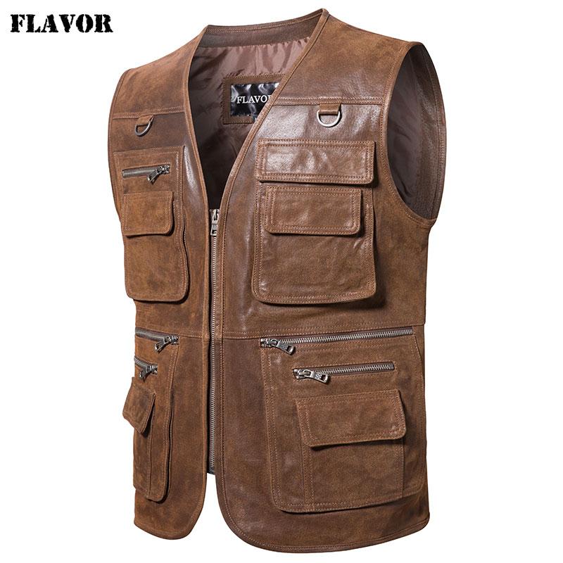 FLAVOR New Men's Real Leather Vest Men's Motorcycle Fishing Outdoor Travel Vests