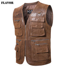 FLAVOR New Men's Real Leather Vest Men's Motorcycle Fishing Outdoor Travel Vests(China)