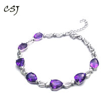 CSJ Natural Amethyst Bracelet Sterling 925 Silver Pear 6*8mm High Quality Fine Jewelry for Women Femme Wedding Party Gift in Box(China)
