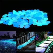 100/300/500 sztuk ogród świecące w ciemności świecące kamienie na chodniki akwarium z roślinami wystrój blask kamienie dekoracje ogrodowe