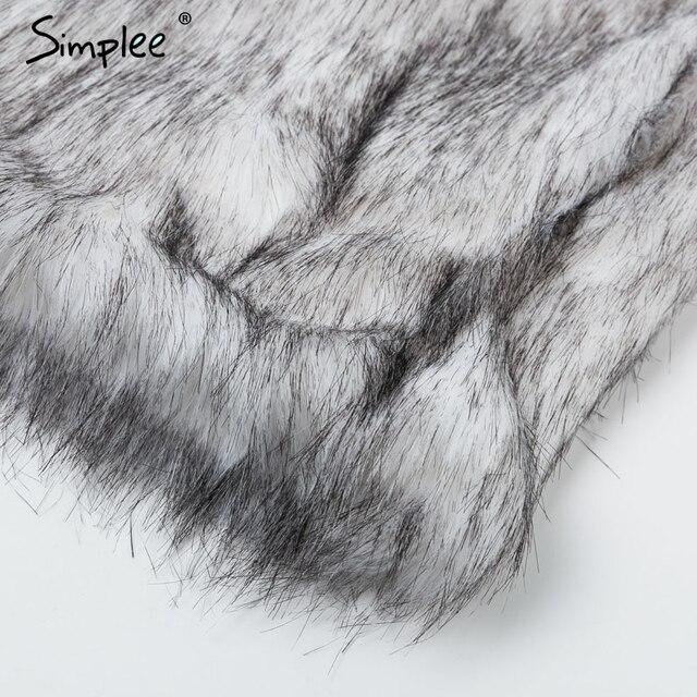Simplee Winter fax fur women coats Luxurious white long fur loose outerwear Plus size thick warm shaggy female streetwear coat 10