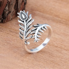Vintage Bud Flower Women Ring Fashion Peacock Feather Open Screen Rings for Anniversary Gift Bride Wedding Jewelry