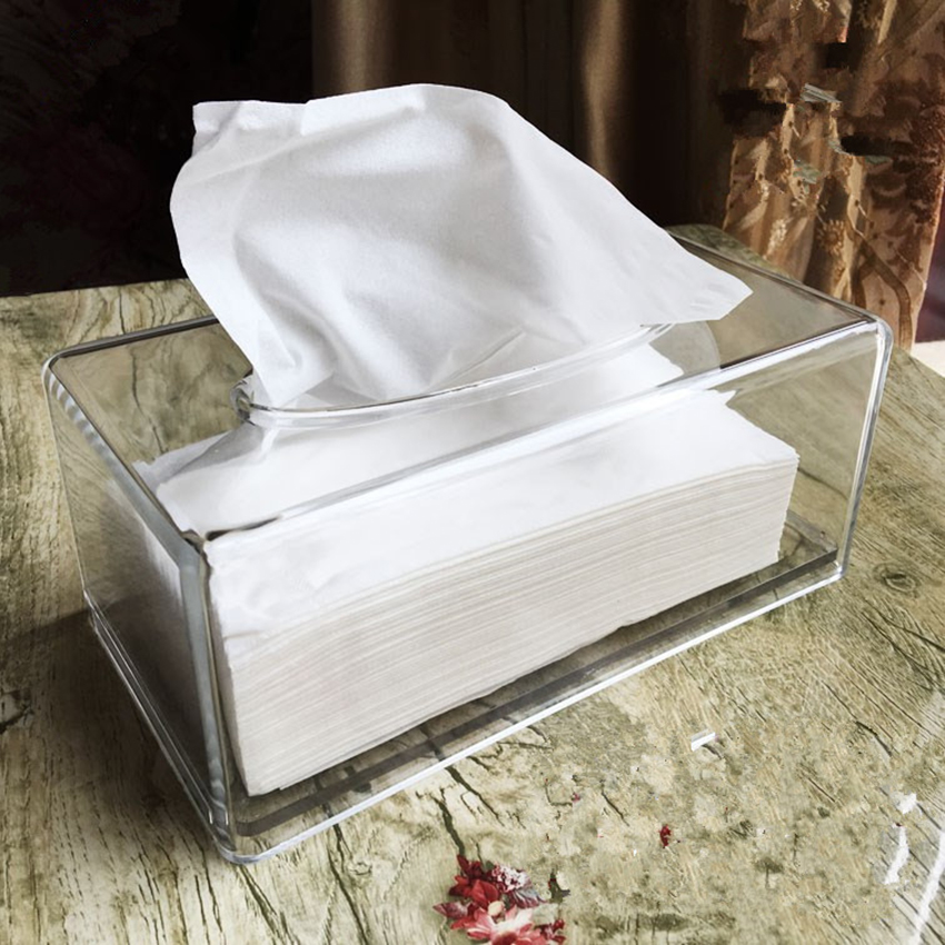 Facial Tissue Dispenser Box Cover Holder Clear Acrylic Rectangle Napkin Organizer for Bathroom, Kitchen and Office, 22x12x10cm