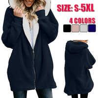 Winter Frauen Hoodies Lange Mantel casaco feminino Solide Zipper Casual Weibliche Jacke chaqueta mujer Hoody Damen Tops Plus Größe