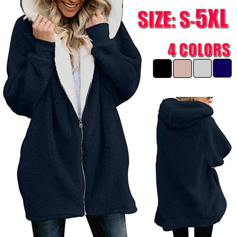 Winter Women Hoodies Long Coat Casaco Feminino Solid Zipper Casual Female Jacket Chaqueta Mujer Hoody Ladies Tops Plus Size