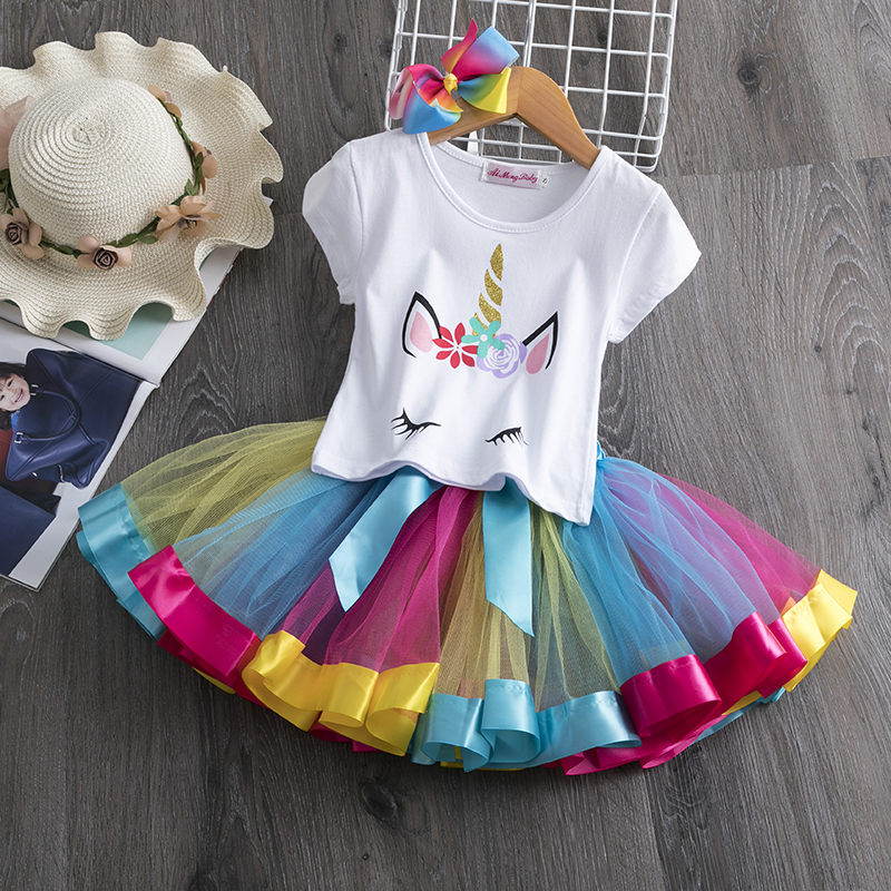 Unicorn Princess Costume 3-8 Years Kids Dresses for Girls Children Unicorn Party Girls Clothes Toddler Girl Casual Sundress Wear 1