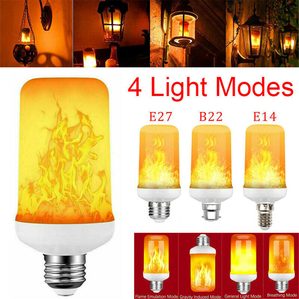 LED Flame Effect Fire Light Bulb 4 Modes E27//B22 Flickering Lamp Christmas Decor