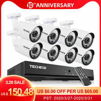 Techege H.265 8CH 4MP Audio CCTV Camera System Outdoor Waterproof Surveillance NVR Kit PoE Security Camera Kit Motion Detection