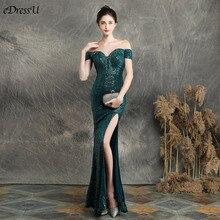 Vestido de Fiesta de sirena con cuello de barco, verde, elegante, largo, cuello de pico, graduación, Formal, YNY 16617