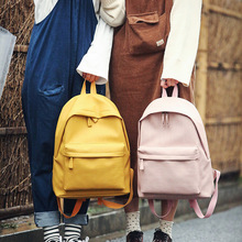цены 2019 New Pure Color Backpack Women Backpack Classic Fashion Women  School Bag for Teenage Girl Backpack Casual Travel Bag