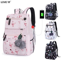 Girl Backpacks Waterproof USB Charging student laptop school