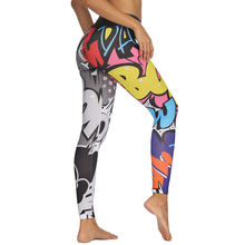 Штаны для йоги с принтом граффити спортивные Леггинсы спортзала