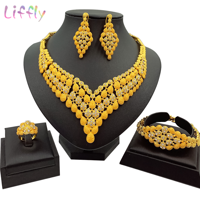 Luxury Wedding Party Crystal Jewelry Sets Dubai Gold Jewelry Set for Women <font><b>Necklace</b></font> <font><b>Earrings</b></font> <font><b>Ring</b></font> <font><b>Bracelet</b></font> Classic Women Jewelry image