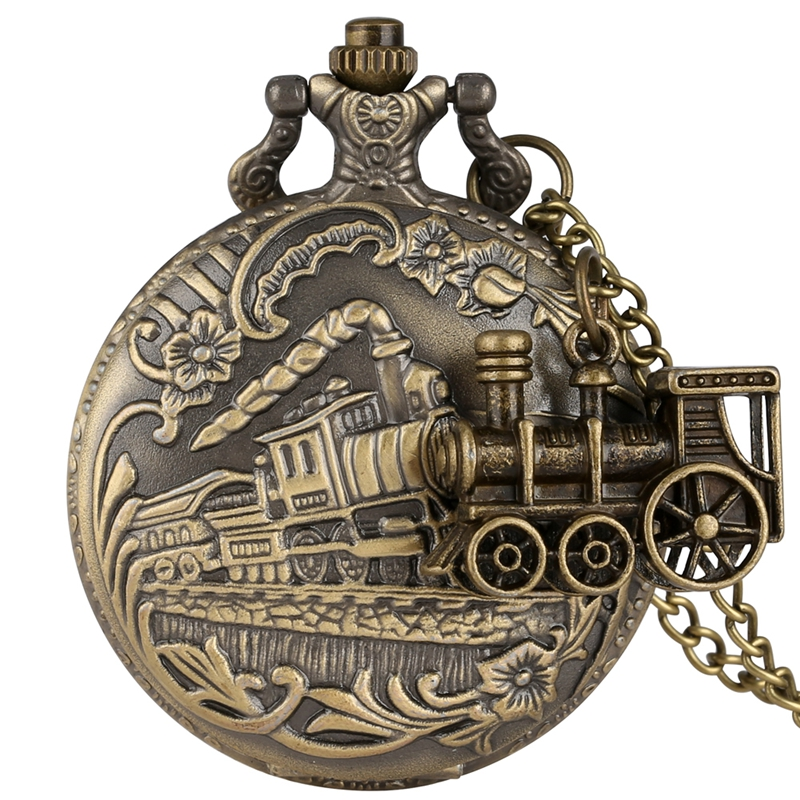 Bronze Quartz Pocket Watch Train Locomotive Engine Necklace Retro Fashion Pendant Chain Jewelry Clock Gifts With Train Accessory