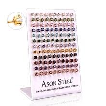LUXUKISSKIDS 60paris/lot Kids Christmas Round Zircon Stud Earrings Set Stainless Steel Earings For Women Fashion Jewelry