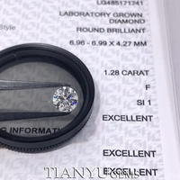 Tianyu Gems CVD 1.28ct F SI1 3EX Cut Round Brilliant Lab Grown Synthetic Diamonds 6.96*6.99*4.27mm IGI Certificated for Jewelry 1