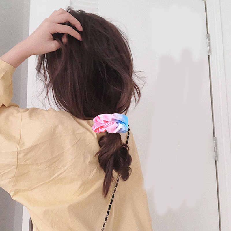 Batik kadife Scrunchies kızlar hippi el yapımı saç Scrunchies gökkuşağı elastik saç bantları at kuyruğu tutucu bağları