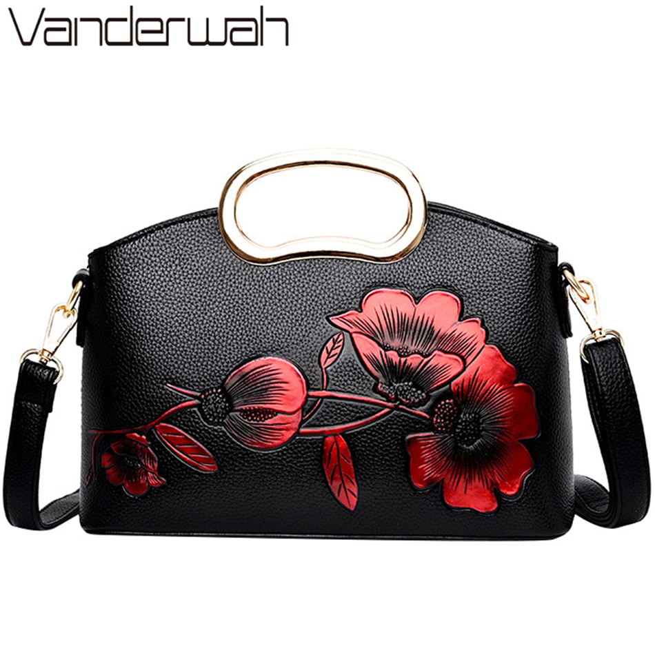 New Luxury Flowers Handbags Women Embossed Leather Shoulder Bags National Style Ladies Crossbody Hand Bags For Women Totes Sac