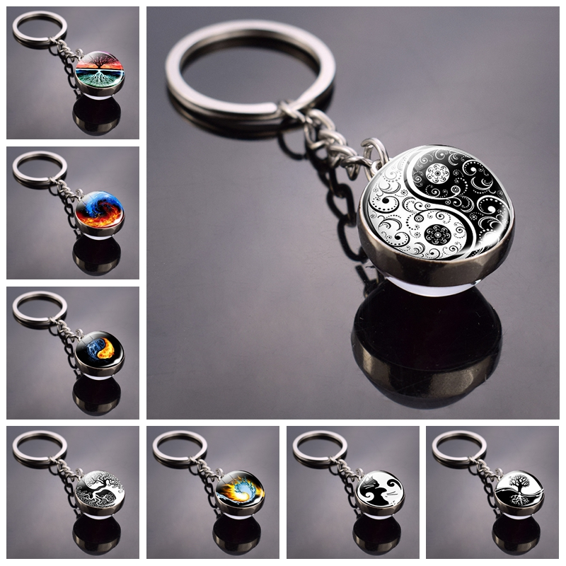 Yin Yang Keychain Yin Yang Tree Of Life Double Side Glass Ball Keychain Yin Yang Cat Keyring