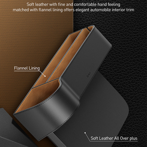 Image 3 - Baseus Car Seat Gap Organizer Leather Large Capacity Auto Storage Box Pocket Holder For Phone Airpods Organizer in the Car