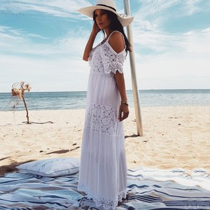 Image 2 - 2020 Cotton Patchwork Lace Beach Dress Long Beach Cover up Vestido Bathing suit Cover ups plage Sarong Robe de Plage Tunic #Q689