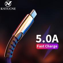 Yeni örgülü naylon hızlı şarj USB C tipi C kablo için Huawei P10 P20 Lite Pro 5A hızlı şarj kablosu samsung galaxy s9 s8 artı