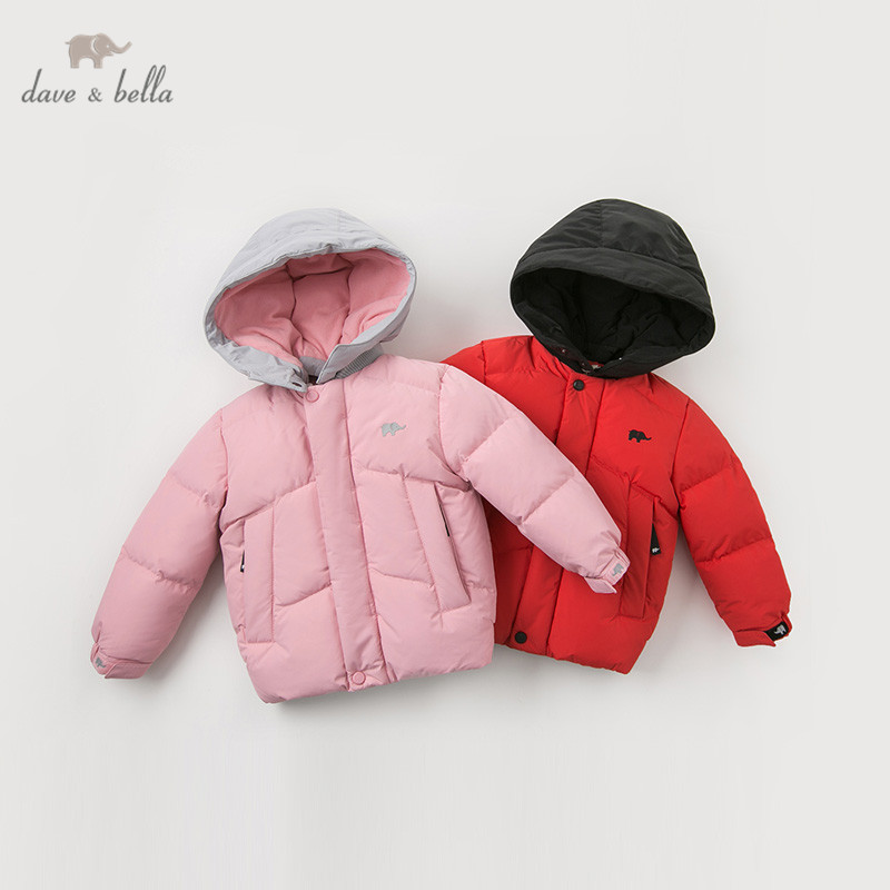 DB11620 dave bella winter baby down coat girls letter zipper hooded outerwear children 90% white duck down padded kids jacket