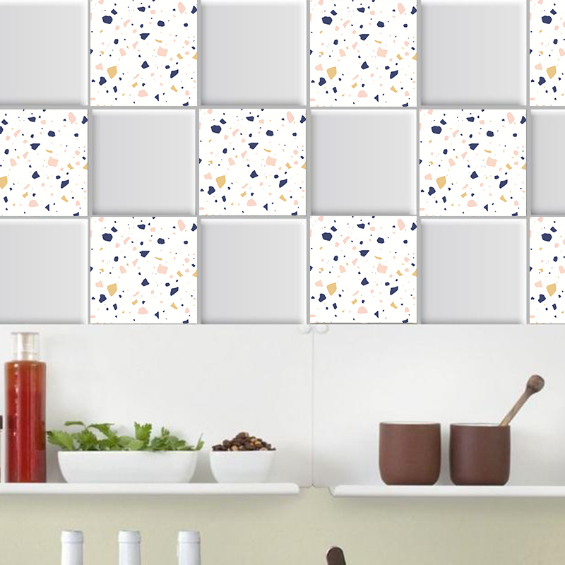 Nordic colored marble Tiles PVC Tile Stickers,Wall Art Decal,Adhesive Waterproof Kitchen Bathroom Decor