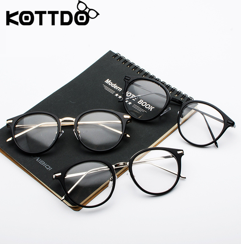 KOTTDO Vintage Metal Eyeglasses Frame Women Round Prescription Eye Glasses Frame Men Computer Clear Decoration Glasses Gafas De