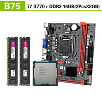 Kllisre B75 motherboard set with Intel Core I7 3770 2x8GB=16GB 1600MHz DDR3 Desktop Memory USB3.0 SATA3|Motherboards|   -