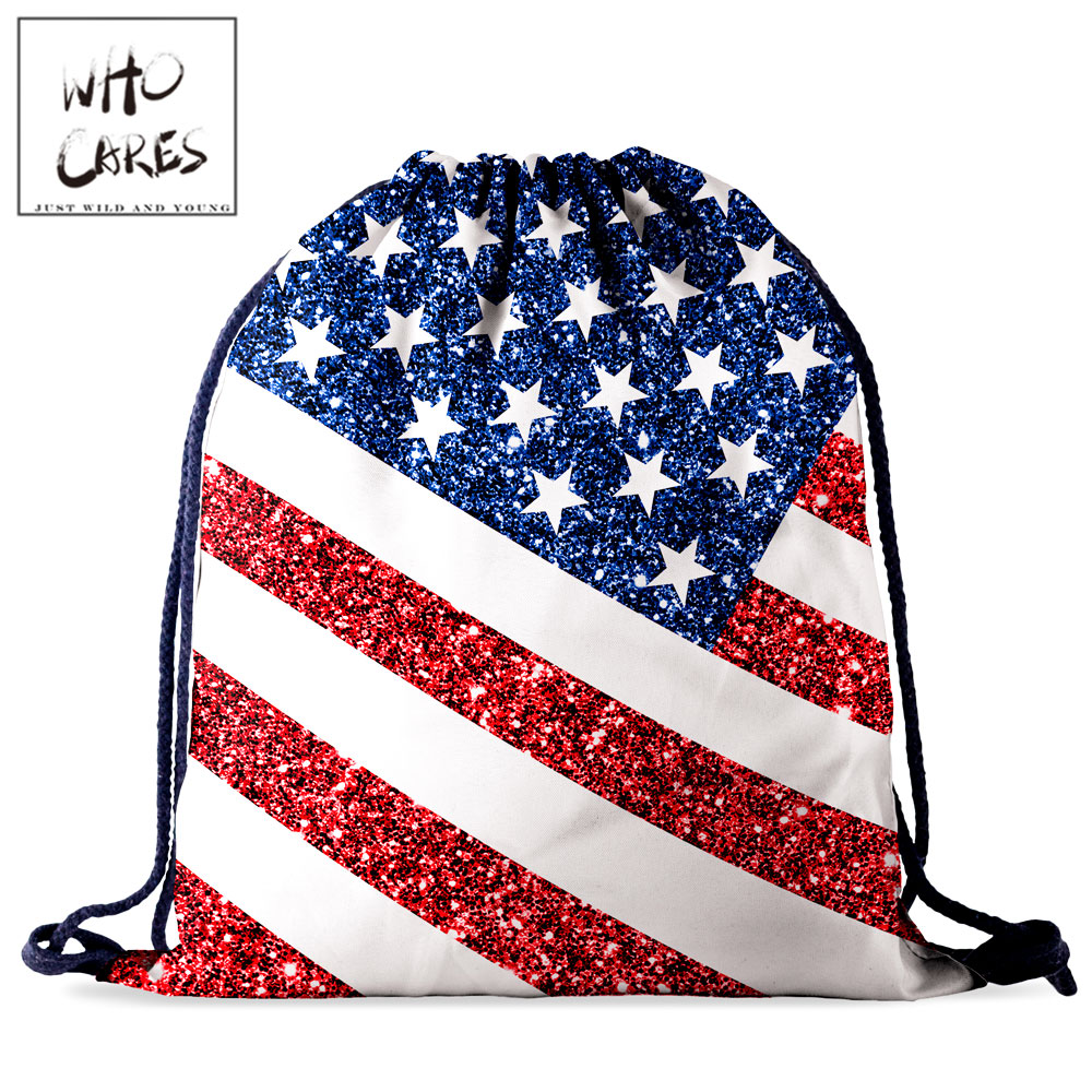 Who Cares Red Blue White Star Waterproof Drawstring Storage Bag Women Backpack 3D Printing Fashion Portable Tavel Bag