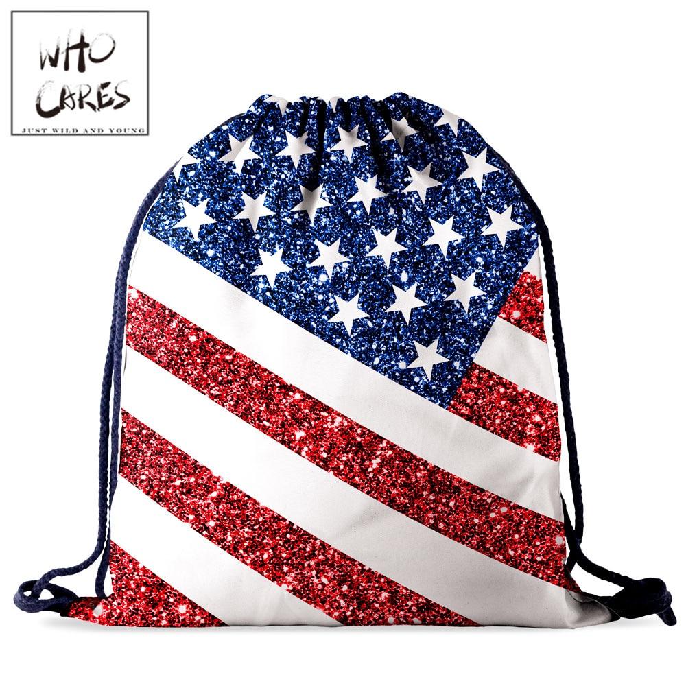 Who Cares Red Blue White Star Waterproof Drawstring Storage Bag Women Backpack 3D Printing Fashion Portable Tavel Bag