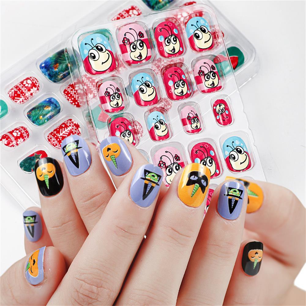 24 шт./компл., конфетные накладные ногти, нажмите на детей, мультфильм, полное покрытие, детский клей, самоподдельный дизайн ногтей для девоче...