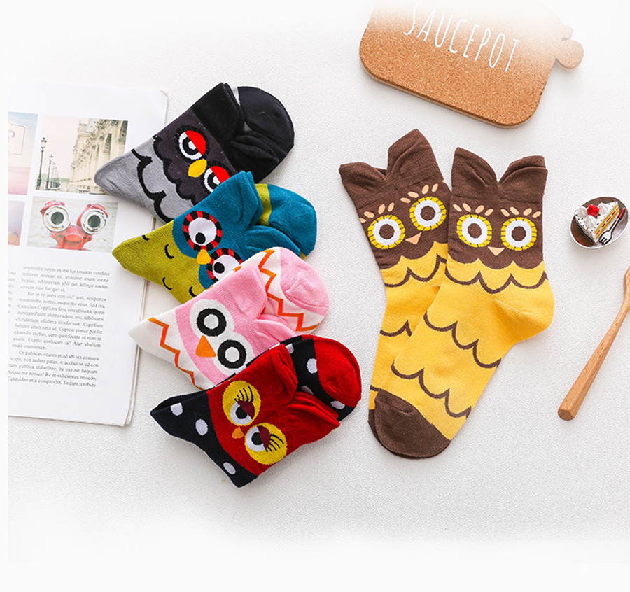 Cartoon Women's Cotton Socks Owl Cute Cartoon Three-dimensional Animal Socks Personality Trend Men And Women Couple Stocks