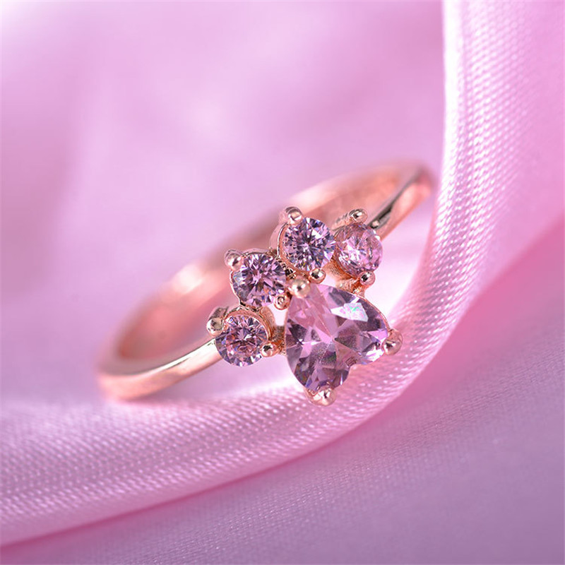 Cute Cartoon Cat's Paw Crystal Engagement Design Hot Sale Rings For Women Pink Zircon Cubic Elegant Rings Female Wedding Jewelry