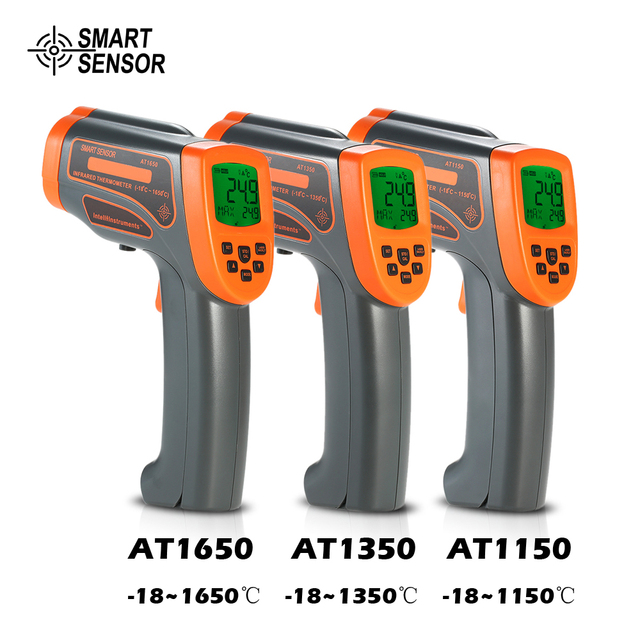 AT1650   18 1650C 20:1 Digital Thermostat Infrared Thermometer LCD Pyrometer+Backligt C/ F Temperature meter Data Storage