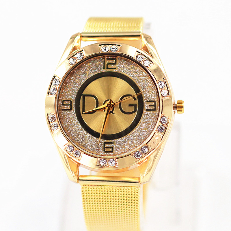 Reloj Mujer Luxury Brand DQG Women Watches New Fashion Casual Crystal Ladies Watch Golden Metal Mesh Women Quartz Wrist Watches